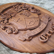 Gallery pic of the Creel Crest from Legacy Crests by Embry McKee, maker of family crests, coats of arms, corporate logos, sports logos, university crests, and other carved wood designs